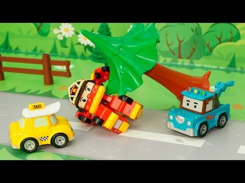 Видео для детей с игрушками Робокар полли - На зарядку становись. Мультфильмы про машинки