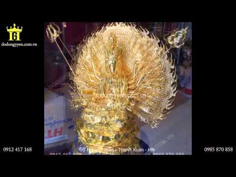 Tượng Phật Quan Âm nghìn mắt nghìn tay bằng đồng mạ vàng