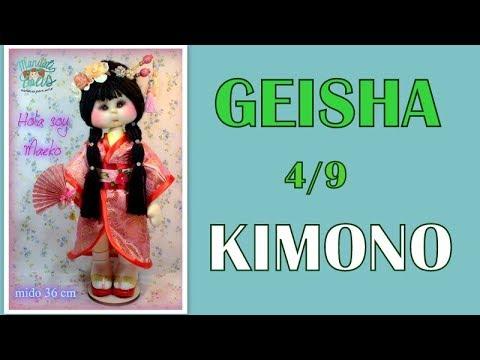 muñeca geisha Maeko , kimono  4/9, video- 303