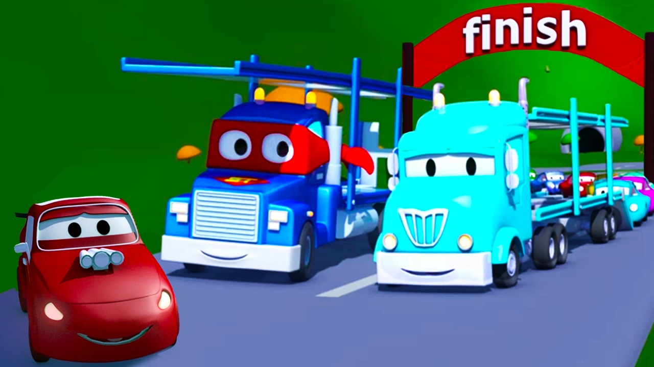 Carl O Super Caminhão E O Caminhão Cegonha Na Cidade Do