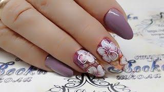 дизайн ногтей. Аквариумный дизайн ногтей. Цветы. Цветы на ногтях. Флористика в дизайне ногтей