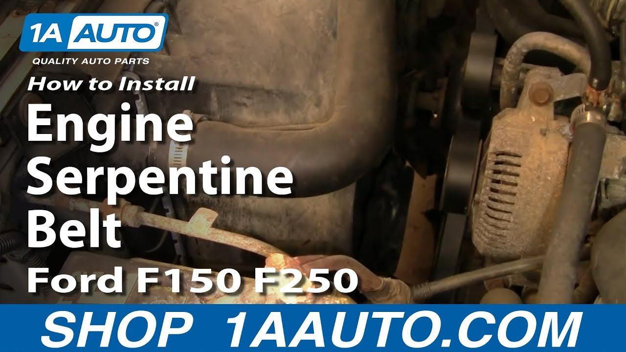 how to replace engine serpentine belt ford 92 96 f150 f250 [ 1280 x 720 Pixel ]