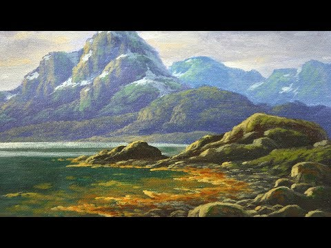 Acrylic Landscape Painting Tutorial Rocky with Snow Mountains And River Bank by JM Lisondra