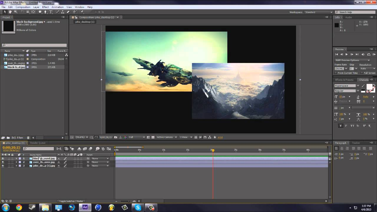 how to create a transition after effects