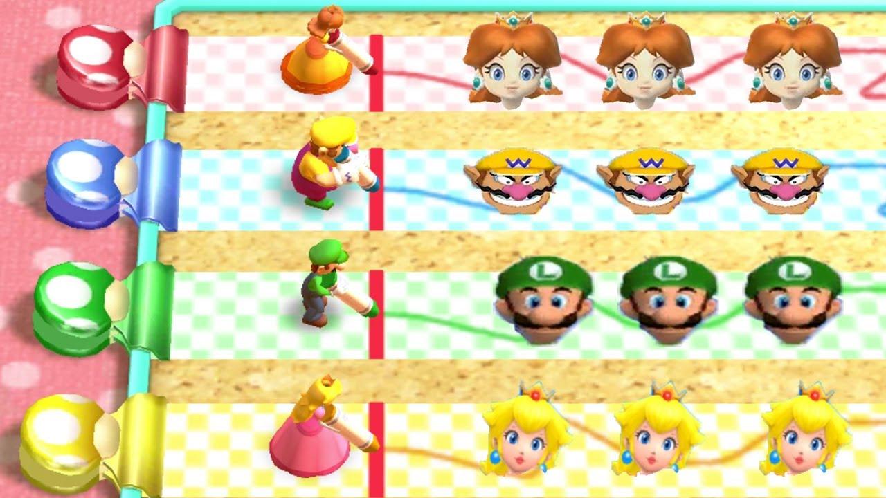 Mario Party The Top - Minigames - Daisy vs Wario vs Luigi vs Peach (Master Cpu)