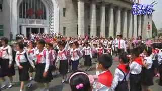 少年団代表たちを熱烈に歓迎、平壌で