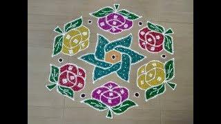 Rose flower kolam with 15 to 8 interlaced dots/Margazhi kolam/easy rose rangoli designs/roja kolam