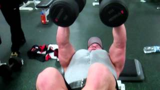 100 pound dumbbell flys!