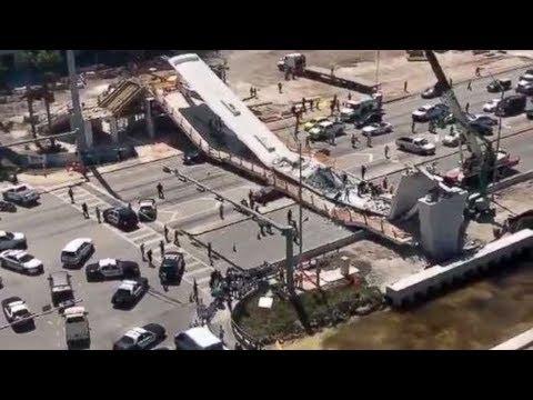 Live: FIU pedestrian bridge collapses at Florida University  Miami Dade, multiple deaths underneath