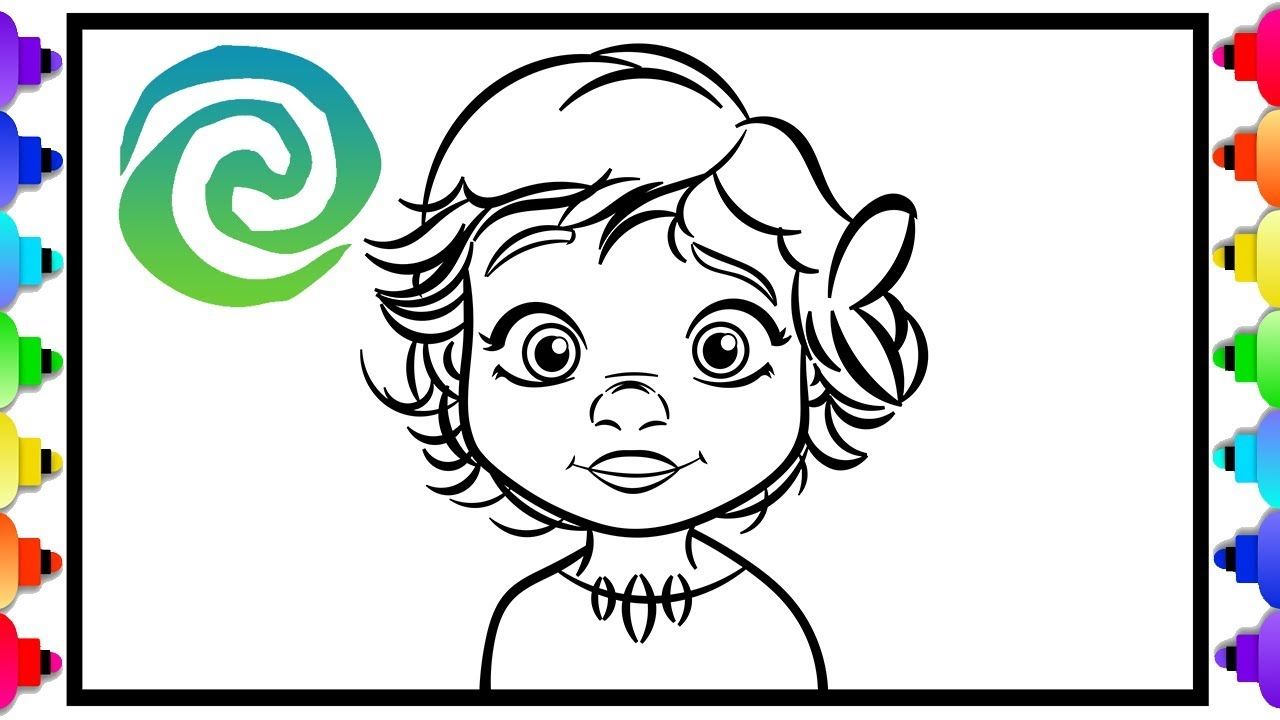 How To Draw Baby Moana From Disney S Hit Movie Moana Coloring Page For Kids