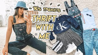 THRIFTING 90s TRENDS ☆ plaid skirts, denim overalls, mom jeans + more!