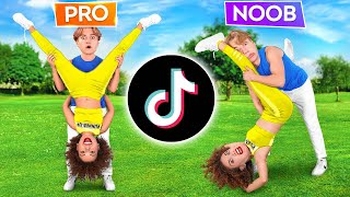 IMPOSSIBLE ACROBATICS CHALLENGE    Pro VS Noob    TIKTOK Tricks Only 1% Can Do by 123 GO! CHALLENGE