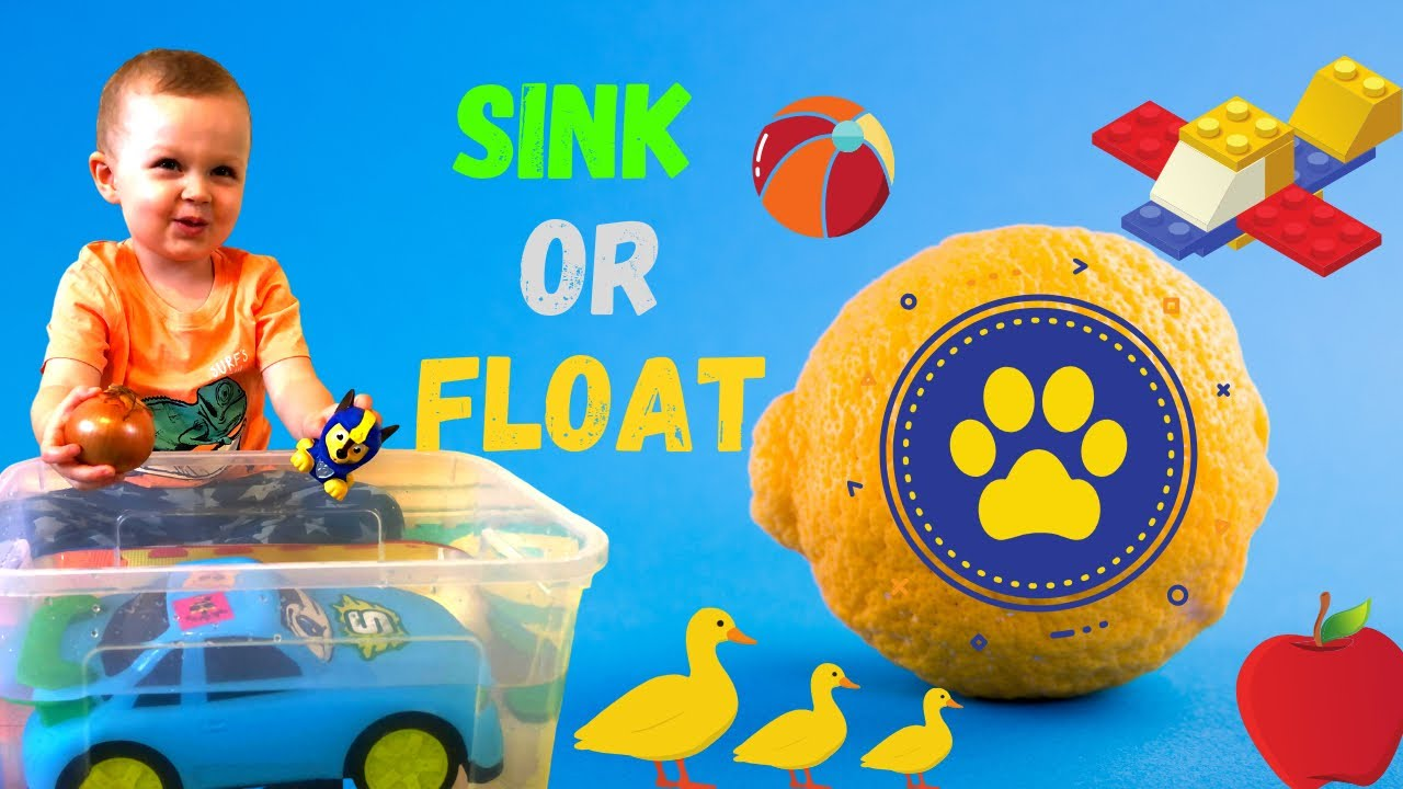 Exiting challenge SINK OR FLOAT for kids. Water toys, Indoors water experiments for kids.