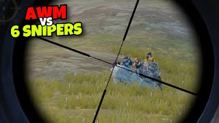 AWM VS 6 SNIPERS!!! | BEST AWM GAMEPLAY EVER | PUBG MOBILE