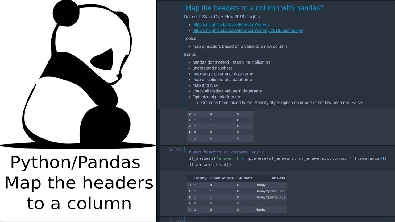 Map the headers to a column with pandas?