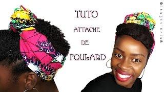 """ATTACHÉ DE FOULARD """"BANDEAU-BUN""""⎜118 x 75 cm⎪FRANGE & CÔTÉS FLAT TWISTS⎪AFRO 4B-4C⎪PERSEV'HAIR"""