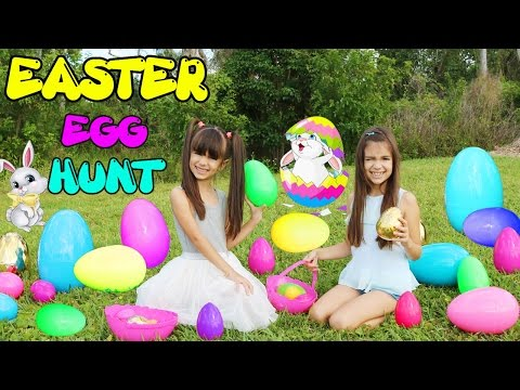 EASTER EGG HUNT - Giant Surprise Eggs, Huge Golden Egg Surprise Toys Family Friendly Fun, Kids React