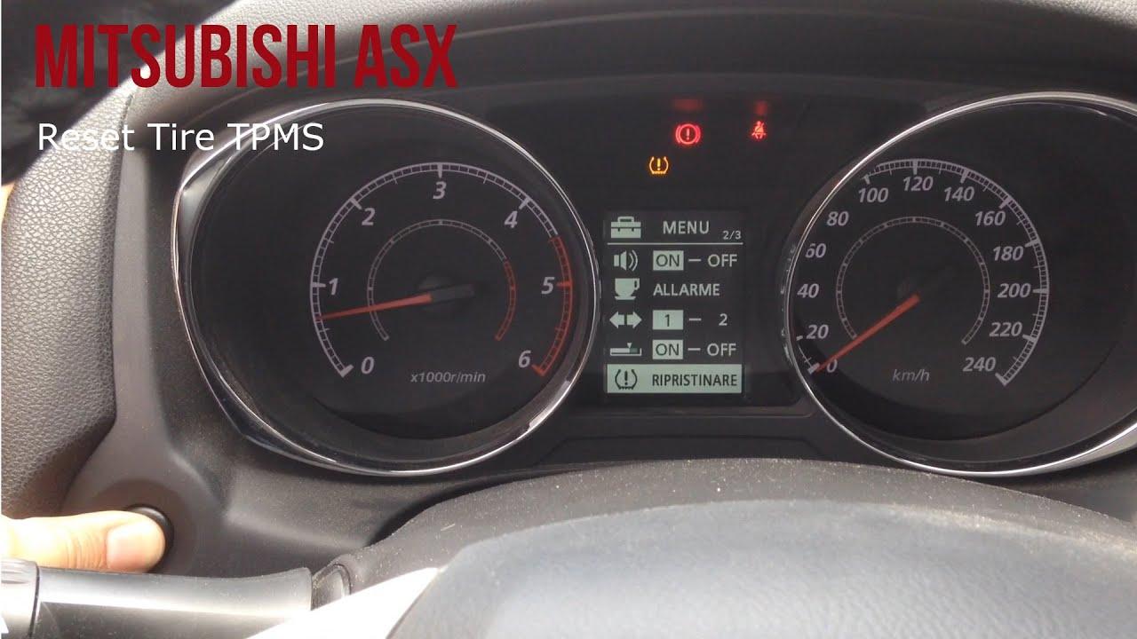Mitsubishi Asx Reset Tire Pressure Pneumatici Tpms Youtube