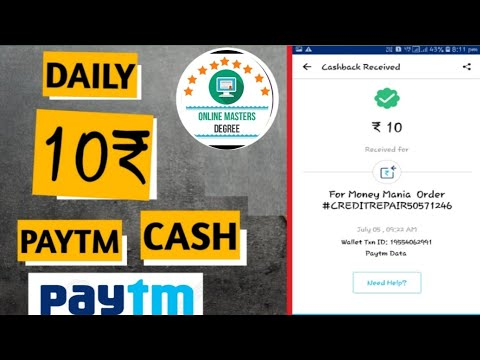 Earn paytm cash daily 2018| earn money with mobile | online master degree app