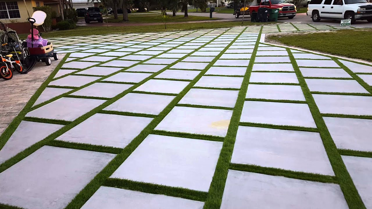 Miami Artificial Turf Turf Strips Grass Between Concrete