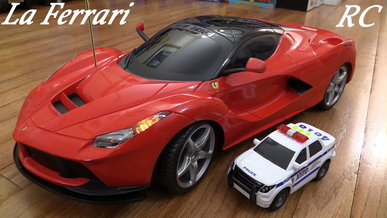 rc toy cars new bright laferrari remote control sports car and a police car unboxing youtube