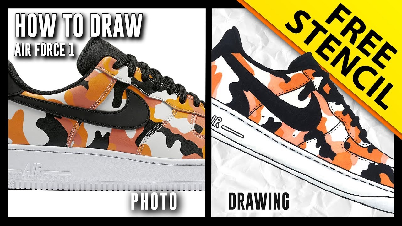 size 40 ee9a7 3a247 HOW TO DRAW  Nike Air Force 1 Low w  FREE Stencil