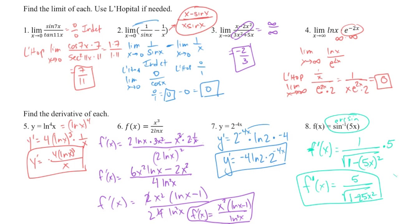 AP Calculus Chapter 7 Review - whole chapter