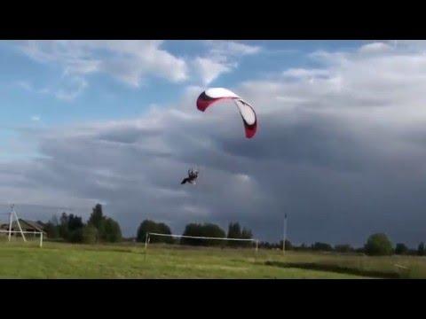 Extreme Paramotor CRASH Flight and Sudden Back Swing Bad Landing