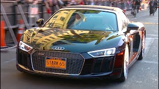 Robert Downey Jr Arrives In Audi R8 Spyder V10 Premiere Spiderman Homecoming Audi CARJAM TV HD