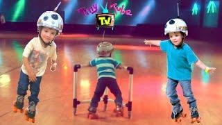 Skating Toddler! Roller Skating Adventure! Learn to skate at the Roller Rink! On TinyTubeTV