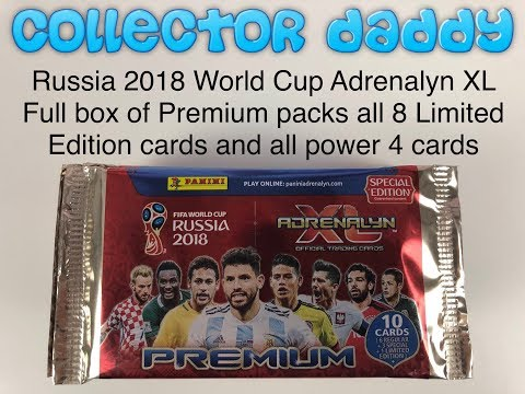 Russia 2018 World Cup Adrenalyn XL Full box of premium packs all 8 limited edition all power 4 cards