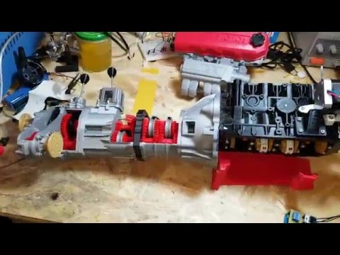 Engine Toyota 22re + 5 speed and 4x4 offroad transmission full 3d printed