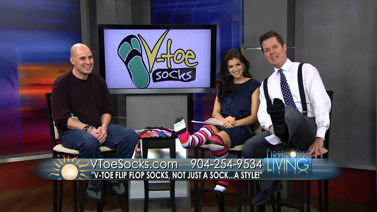 1c7cff67426943 First Coast Living had us back! Loving the V-Toe Flip Flop Socks ...