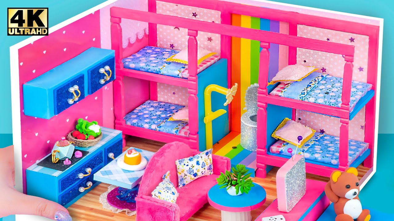 Download DIY Miniature Cardboard House #417 ❤️ Build Amazing Pink Apartment House with Two Blue Bunk Bed Room