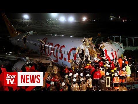 Plane crashes after landing in Istanbul, 21 injured