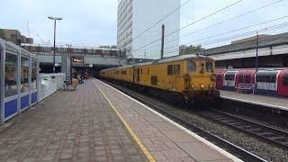 (HD) Network Rail 73138 + GBRF 73141 at Ealing Broadway on 1Q03 Test Train 24.10.14