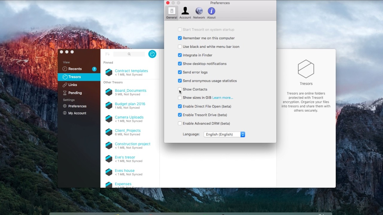 How to manage your account and settings in Tresorit for Mac