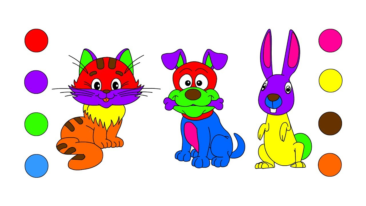 How To Draw Pet Animals Coloring Pages For Kids Children