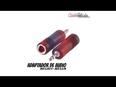 Video de Adaptador audio estereo JACK 6.35/H-JACK 3.5/M DORADO  Negro