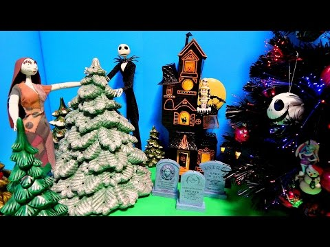 Nightmare Before Christmas Tree Monster High Ornaments Jack & Sally Dolls Unboxing Toy Review