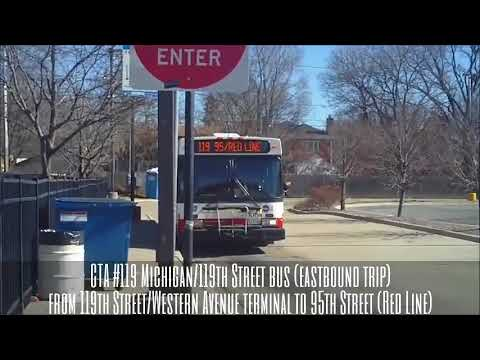 CTA 119 Michigan 119th Street Bus EB Trip Route From Western To 95th Red Line