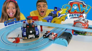 Paw Patrol Chase Vs. Marshall Electronic Race Track + RC Fire Truck & RC Police Cruiser !