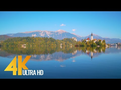 Clear Alpine Bled Lake in Slovenia - 1 Hour 4K UHD Relaxation Video with Music