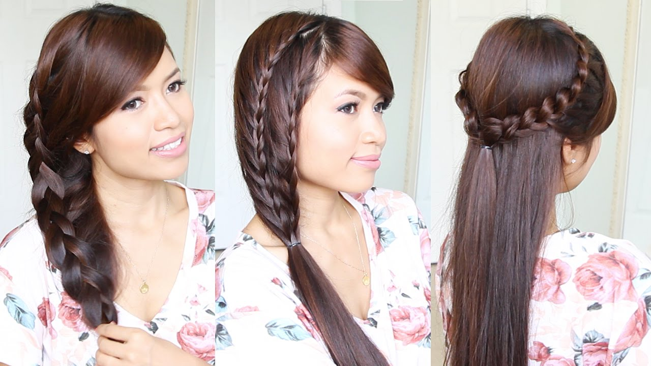 3 Cute Easy Summer Hairstyles For Medium To Long Hair Youtube