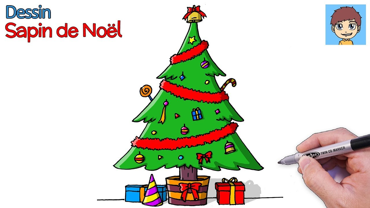 Comment Dessiner Un Sapin De Noel Facilement Dessin Facile Youtube