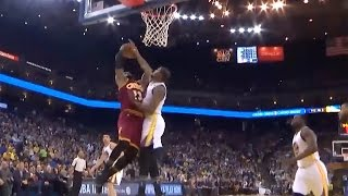 LeBron James BLOCKED by Kevin Durant, Steph C...