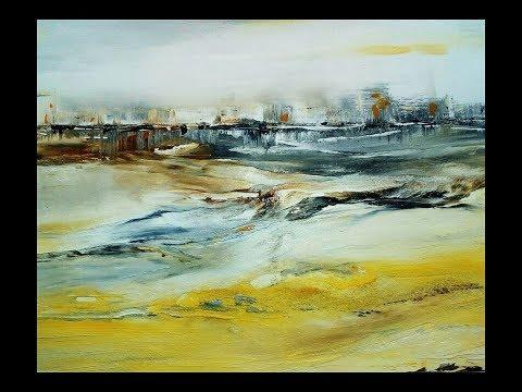 Abstract Painting Demo Abstrakt: Gesso/Strukturpaste/Tusche
