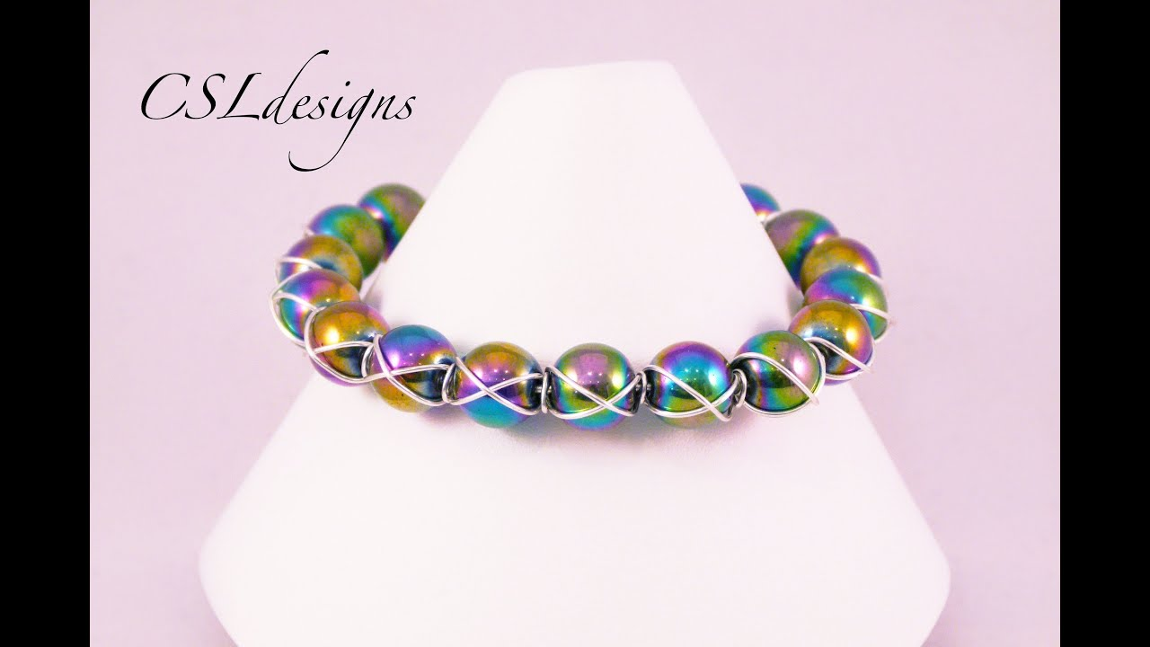 Cross wire wrapped bracelet - YouTube