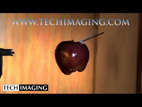 High Speed Camera Video - Nail through a apple