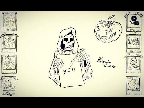 Halloween Kürbis Pumpkin tot skelett zeichnen tutorial einfach easy ...